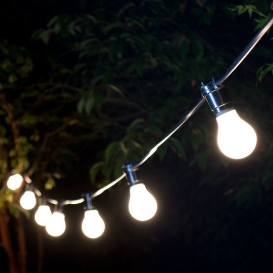 22M Weatherproof Festoon Lighting - 40 Black Bulb Holders