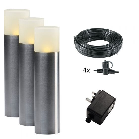 Techmar Plug and Play -  Oak LED Garden Post Lights - Set of 3