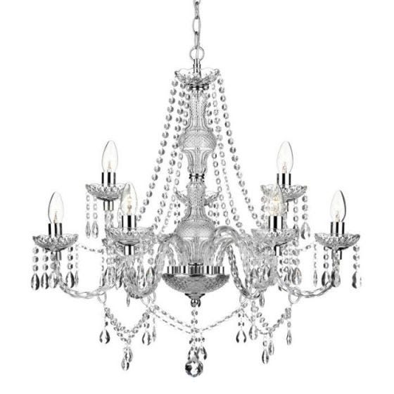 Dar Katie 9 Light Chandelier - Polished Chrome