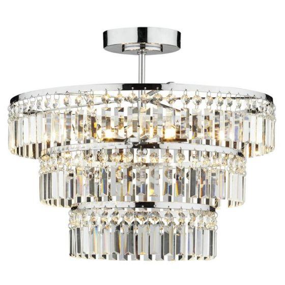 Dar Rowena Semi-Flush Ceiling Light - Crystal