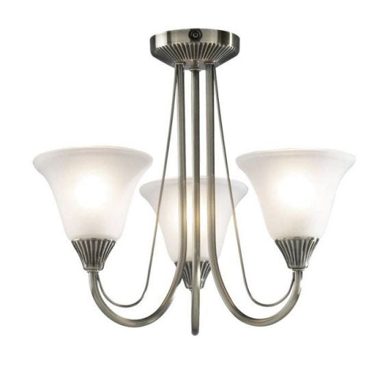 Dar Boston 3 Arm Semi-Flush Ceiling Light