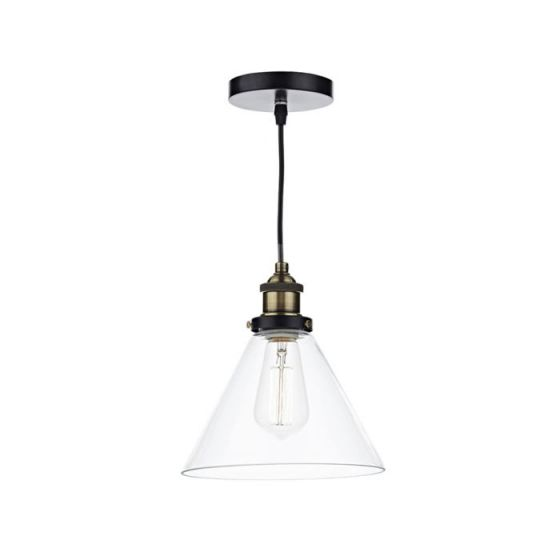 Dar Ray Glass Ceiling Pendant Light - Antique Brass