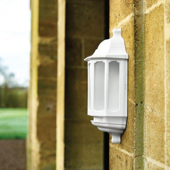 ASD LED Half Lantern Outdoor Wall Light - White