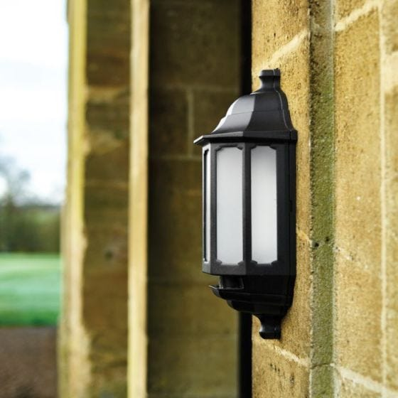 ASD LED Half Lantern Outdoor Wall Light with Dusk to Dawn Sensor - Black