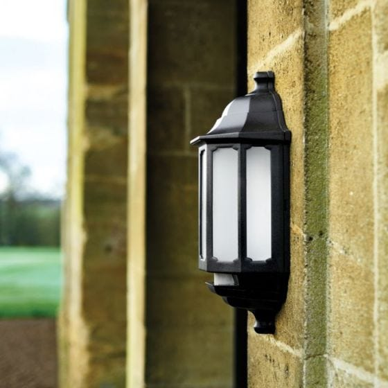 ASD LED Half Lantern Outdoor Wall Light with PIR Sensor - Black