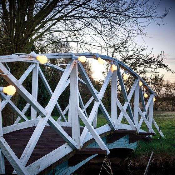 22M Weatherproof Festoon Lighting - 40 White Bulb Holders