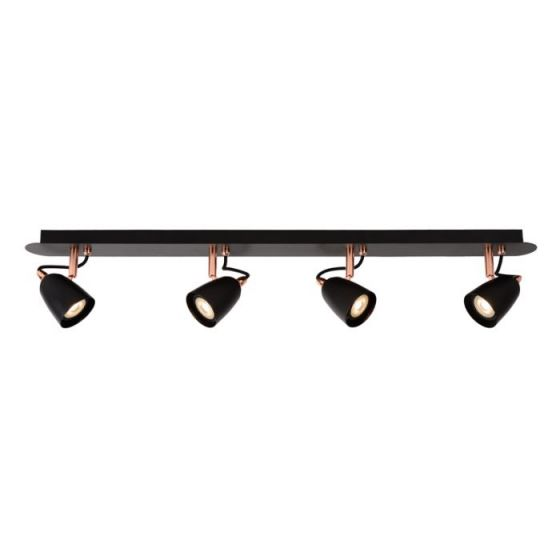 Lucide Ride LED 4 Light Spotlight Plate - Black & Copper