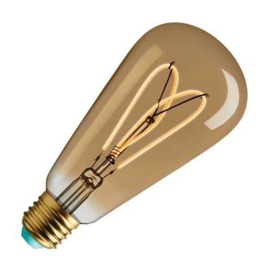 WattNott Whirly Willis 4W Warm White Dimmable LED Decorative Filament Gold Squirrel Cage Bulb - Screw Cap