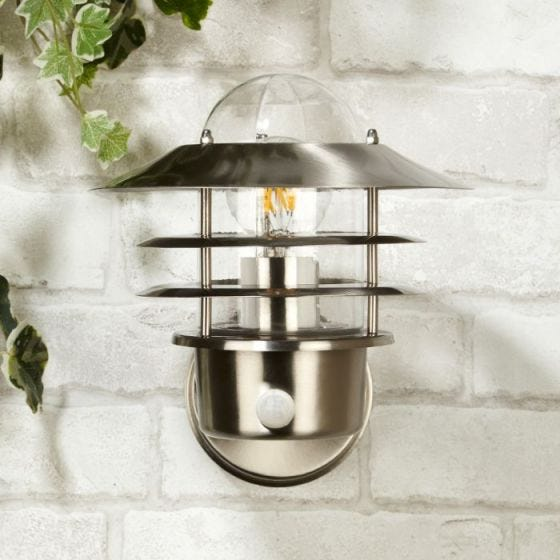 Nellie Outdoor Wall Light with PIR Sensor - Stainless Steel