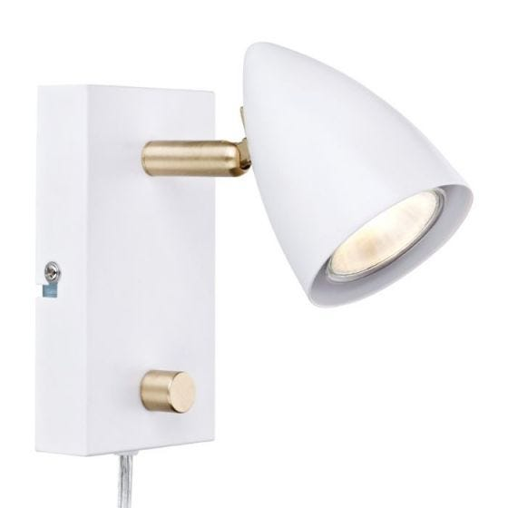 Ciro Reading Light with Plug - White