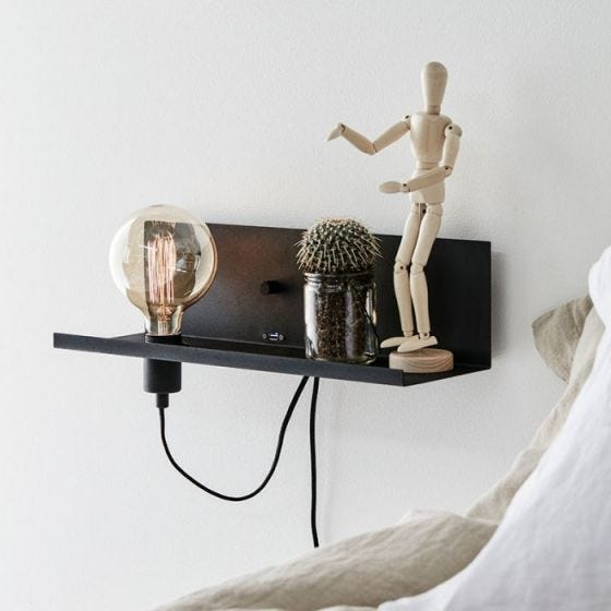 Multi Shelf and Wall Light with Plug & USB Charging Port - Black