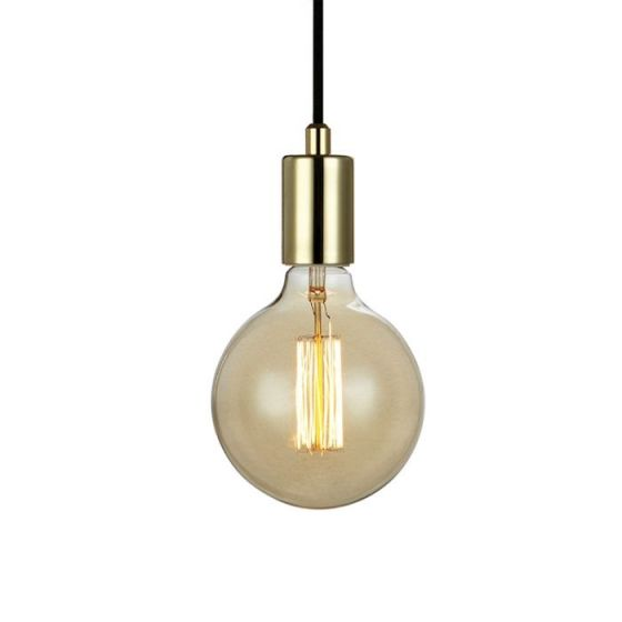 Sky Lamp Holder with Plug - Brass