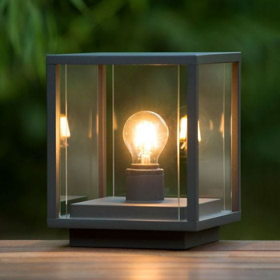 Lucide Claire Square Outdoor Pedestal Light - Anthracite