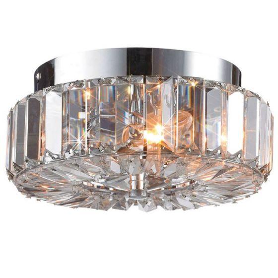 Ulriksdal Crystal Flush Ceiling Light - Chrome