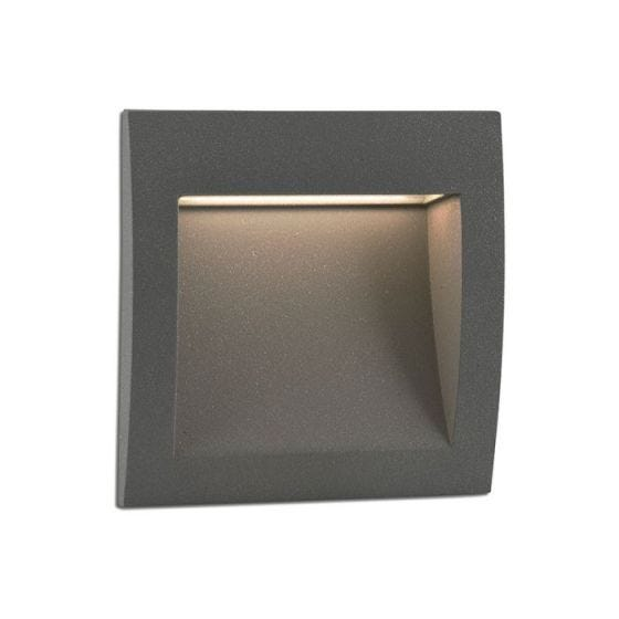 Faro Barcelona Sedna Square LED Outdoor Wall Light - Dark Grey