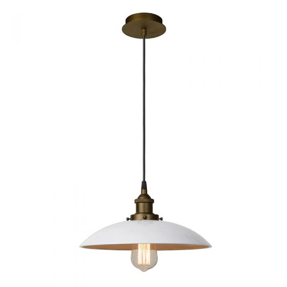 Lucide Large Bistro Ceiling Pendant Light - White