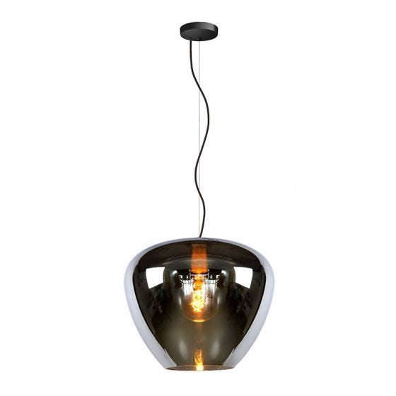 Lucide Soufian Glass Ceiling Pendant Light - Smoke Grey