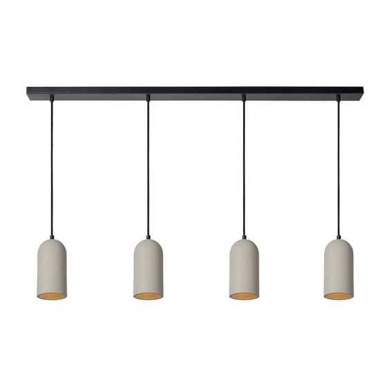 Lucide Gipsy Concrete 4 Light Bar Ceiling Pendant - Taupe