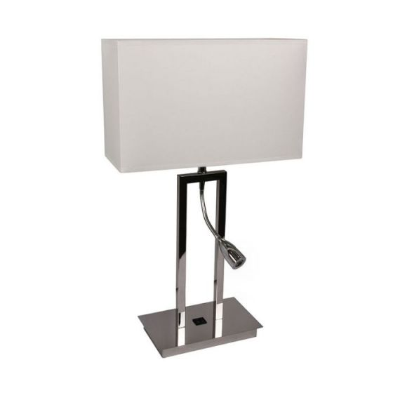 Edison Table Lamp with LED Reading Light - Chrome
