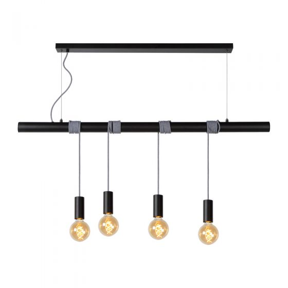 Lucide Jamie 4 Light Bar Ceiling Pendant - Black
