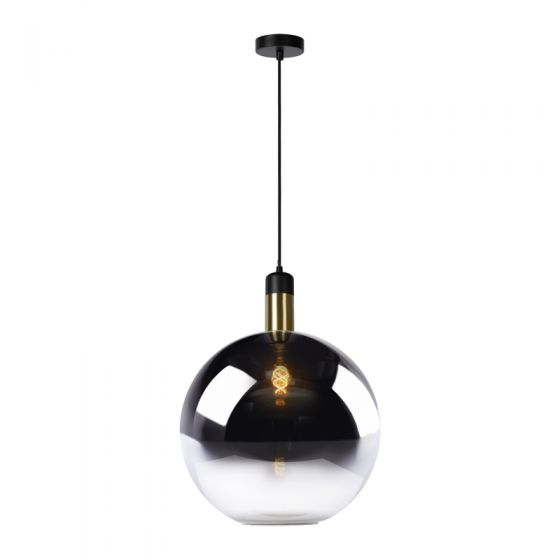 Lucide Large Julius Glass Ceiling Pendant Light - Smoked Glass