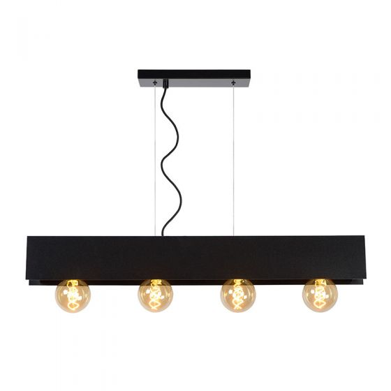 Lucide Surtus 4 Light Bar Ceiling Pendant - Black