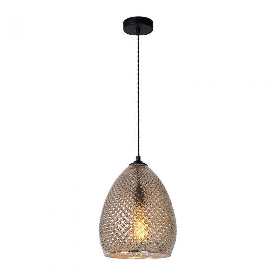 Lucide Gerban 24 Glass Ceiling Pendant Light - Antique Silver