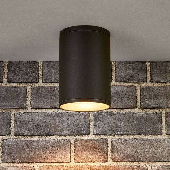 Edit Fog Outdoor Flush Ceiling Light - Dark Grey