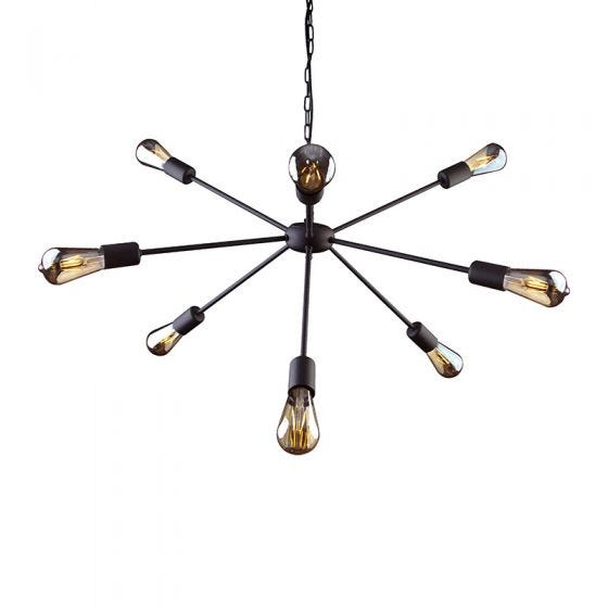 Edit Rod 9 Arm Ceiling Pendant Light - Black