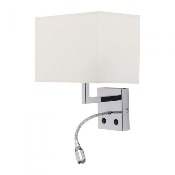 Edit Hotel Wall Light with LED Reading Light - White