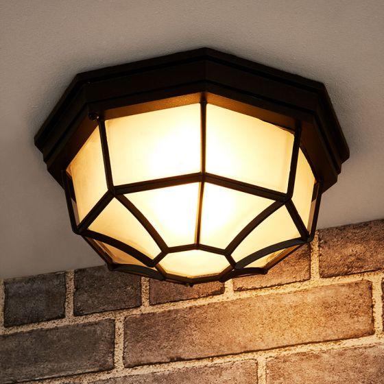 Edit Milano Outdoor Flush Ceiling Light - Black