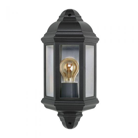 Half Lantern Outdoor Wall Light - Black