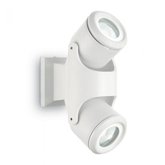 Raro Outdoor Wall Mounted Twin Spotlight - White
