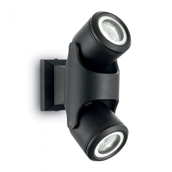 Raro Outdoor Wall Mounted Twin Spotlight - Black