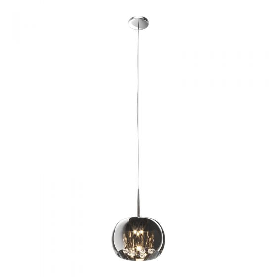 Edit Belgravia Large Glass Ceiling Pendant Light - Smoked Chrome