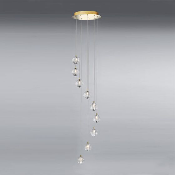 Edit Air 9 Light LED Cascade Ceiling Pendant - Gold