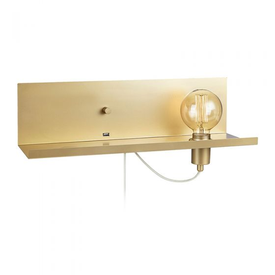 Multi Shelf Wall Light with Plug & USB Charging Port - Gold