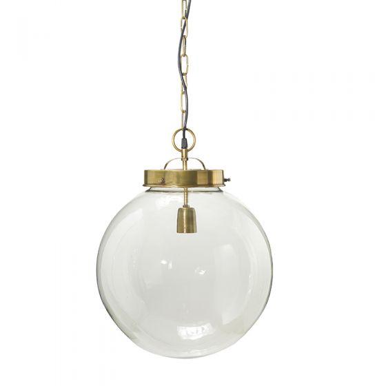 Edit Normandy Large Glass Ceiling Pendant Light - Antique Brass