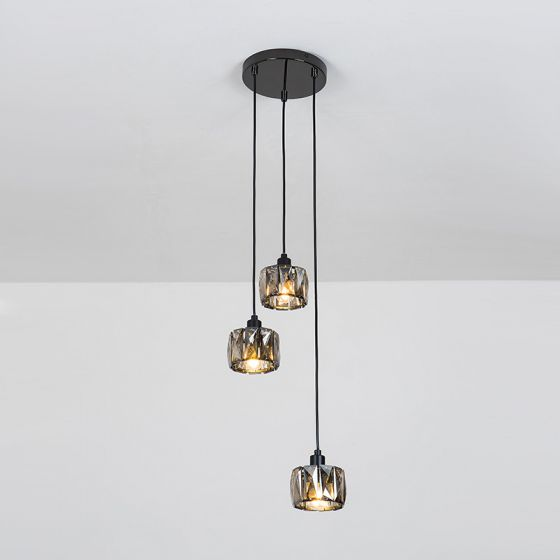 Edit Frill Crystal 3 Light Cascade Ceiling Pendant - Black Nickel