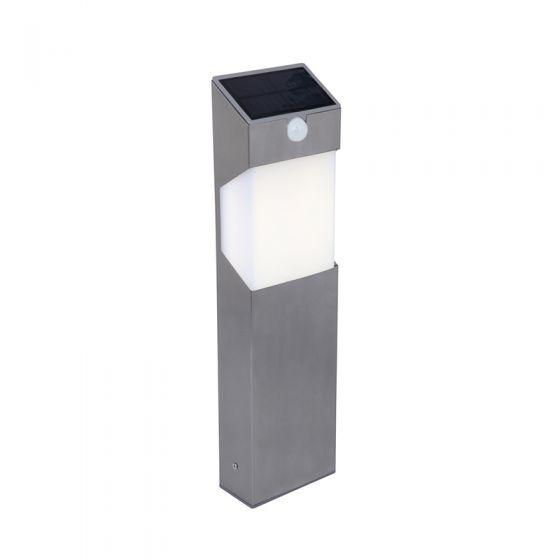 Lutec Solstel Solar LED Bollard Light with PIR Sensor - Stainless Steel