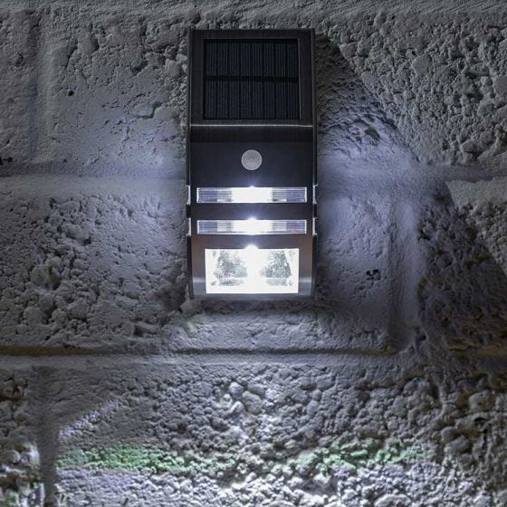 365 Solar LED Flush Wall Light with PIR Sensor - Stainless Steel