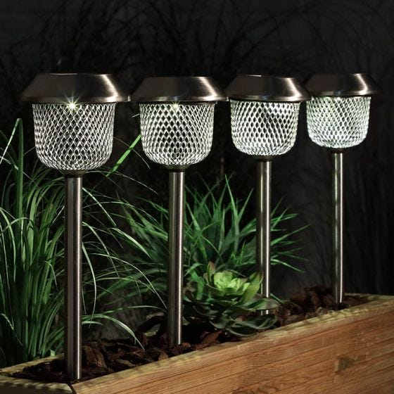 365 Mesh Solar LED Stake Lights - Stainless Steel - Pack of 4