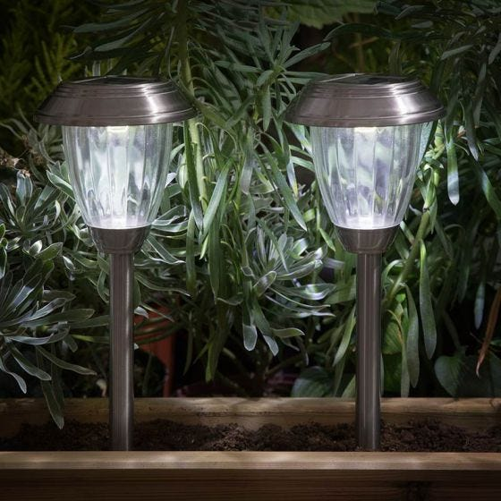 365 Lantern Solar LED Stake Lights - Stainless Steel - Pack of 2