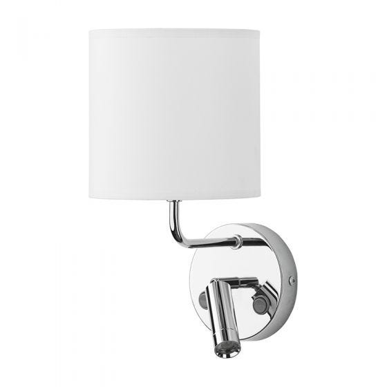 Edit Chalet Wall Light with LED Reading Light - White & Chrome