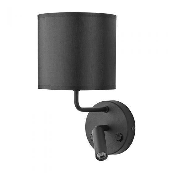 Edit Chalet Wall Light with LED Reading Light - Black