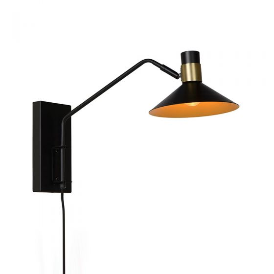Lucide Pepijn Wall Light with Plug - Black & Gold