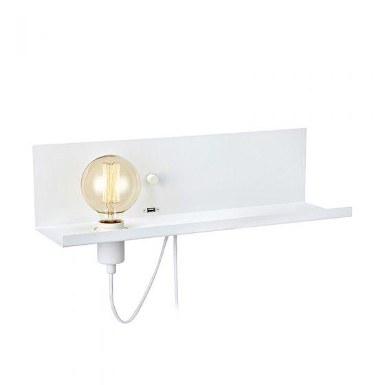 Multi Shelf and Wall Light with Plug & USB Charging Port - White