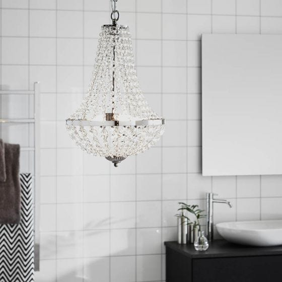 Granso Small Bathroom Crystal Chandelier - Chrome
