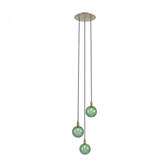 Uno 3 Light Glass Cascade Ceiling Pendant - Green