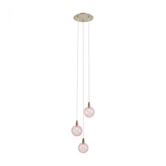 Uno 3 Light Glass Cascade Ceiling Pendant - Pink